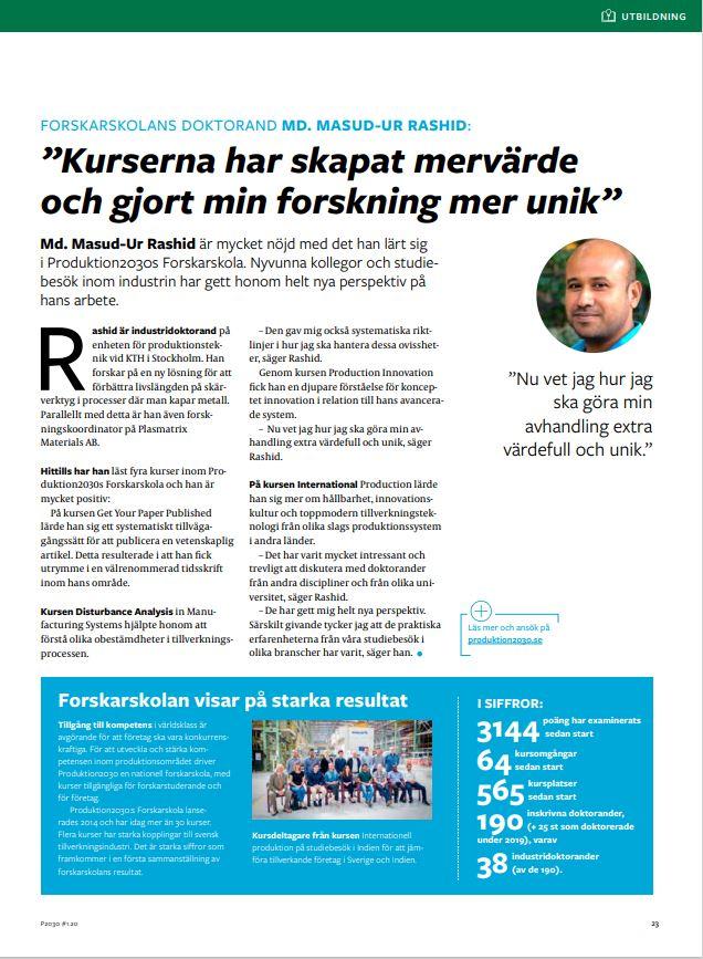 Forskarskolan Produktion2030 magazine